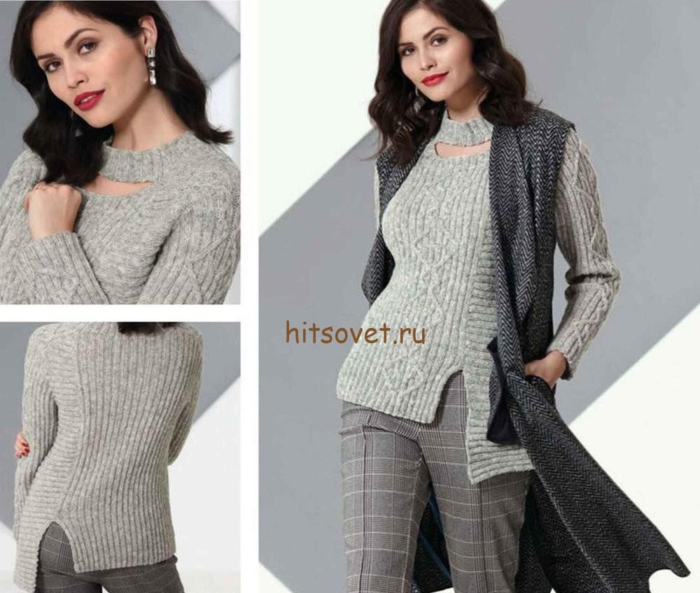 Асимметричный пуловер спицами схема, фото.