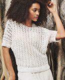 Белый пуловер сетка спицами, фото.