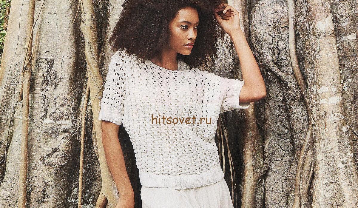 Белый пуловер сетка спицами