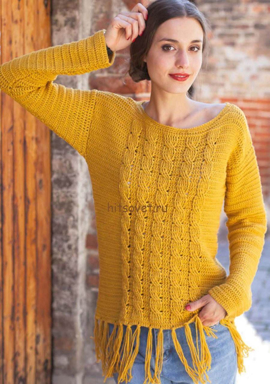 Пуловер с косами крючком