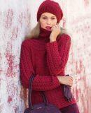 Пуловер с косами женский и шапка, фото.