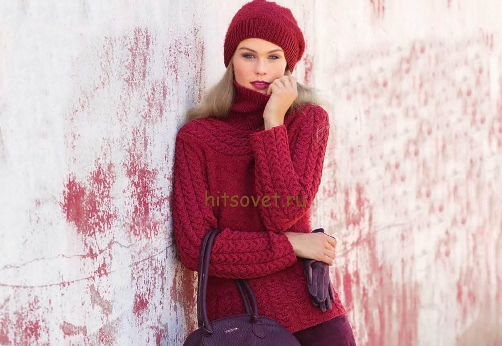 Пуловер с косами женский и шапка