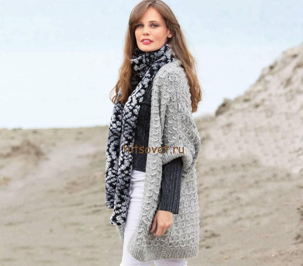 Свободный жилет и шарф, фото 1.