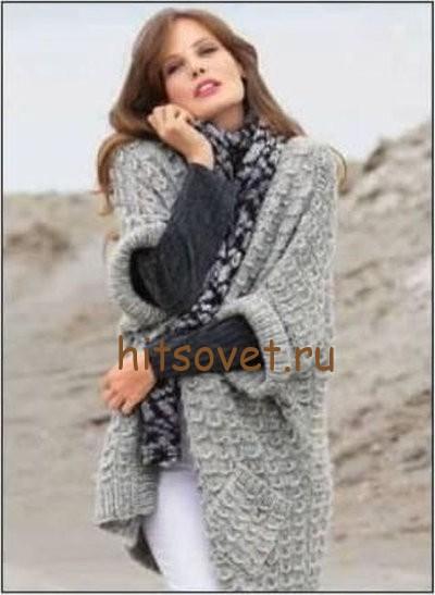 Свободный жилет и шарф, фото 2.