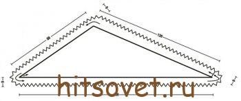 Треугольная шаль спицами, выкройка.