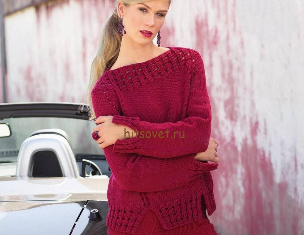 Вязание джемпера для женщин спицами с описанием, фото.