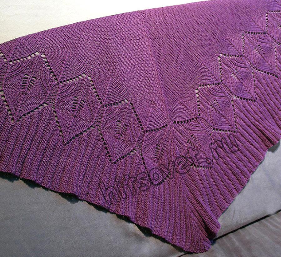 Красивая шаль спицами схемы, фото.