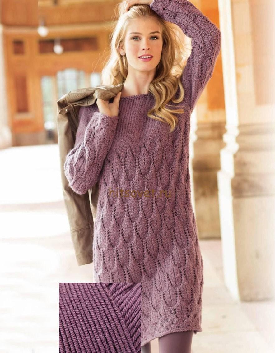Красивое вязаное платье, фото.
