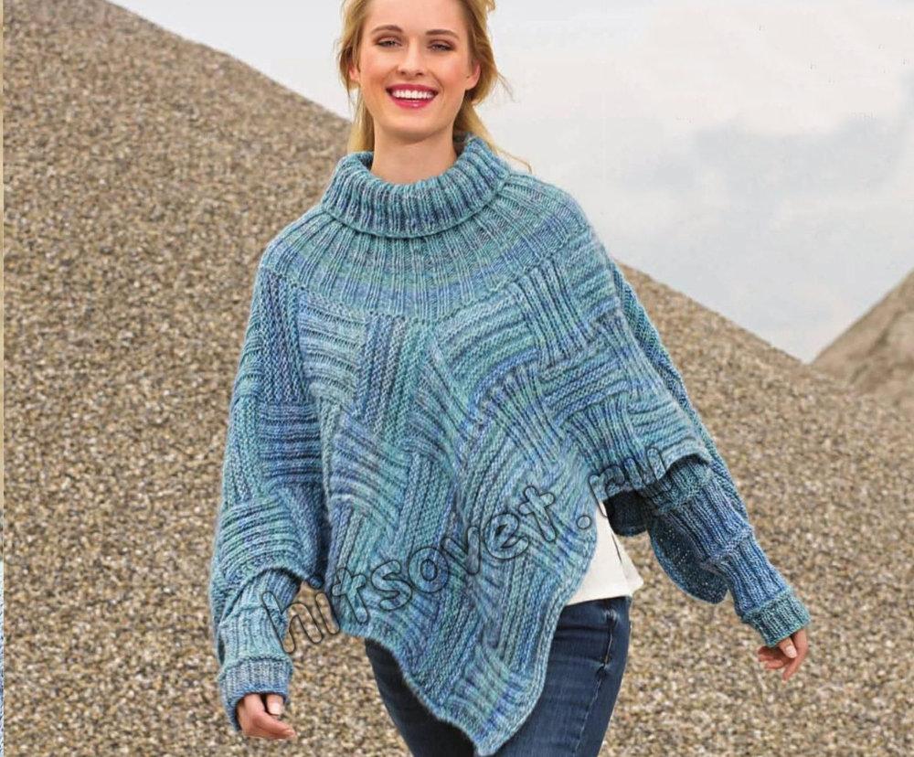 вязание оригинальный пуловер-накидка схема