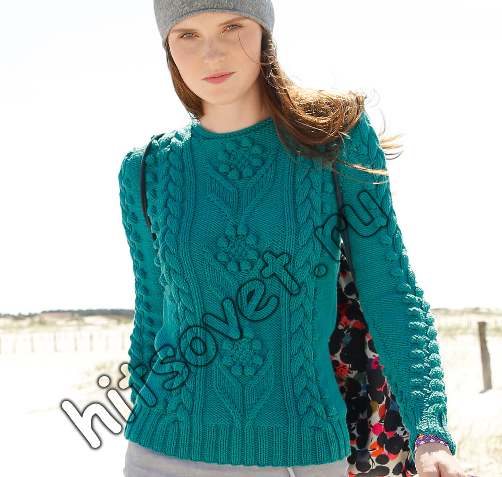 Пуловер с шишечками и косами, фото.
