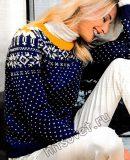Пуловер со снежинками спицами, фото.