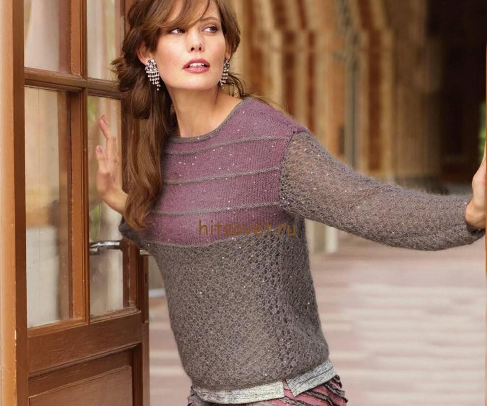 Пуловер женский спицами схемы и описание, фото.