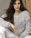 Вязание пуловера с узором клоке, фото.
