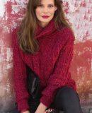 Женский пуловер спицами с рельефным узором, фото.