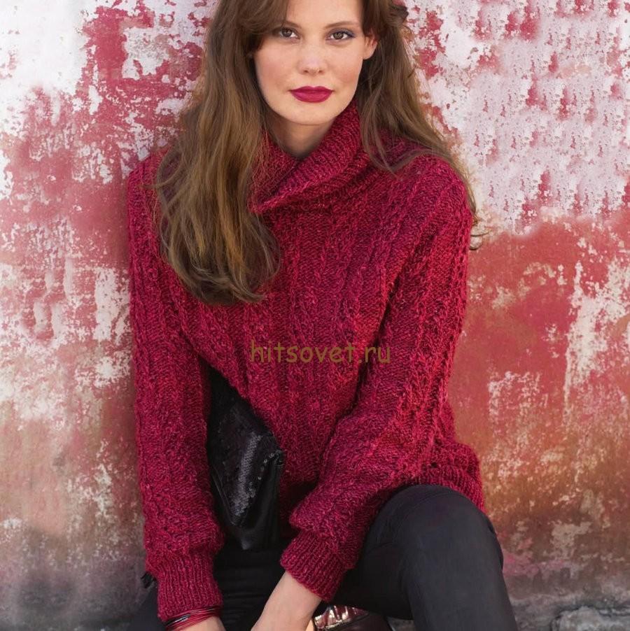 Женский пуловер спицами с рельефным узором