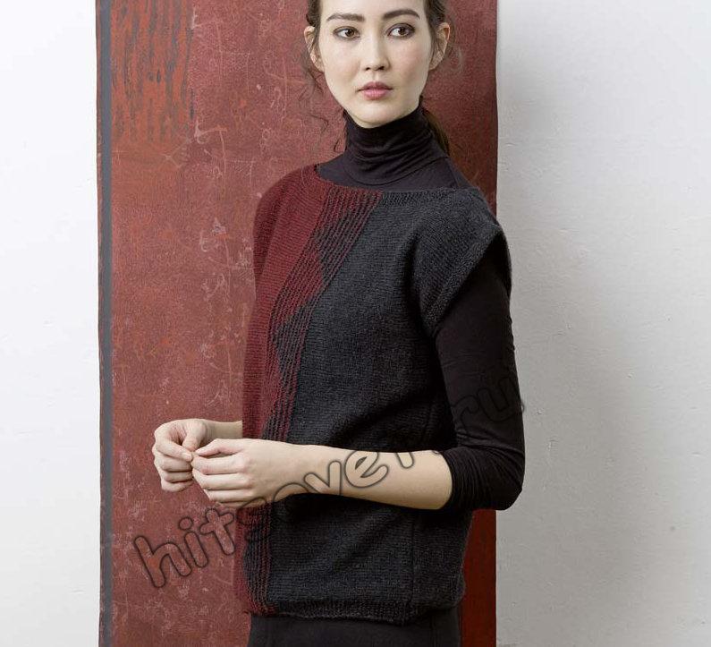 Модная двухцветная безрукавка спицами, фото 1.