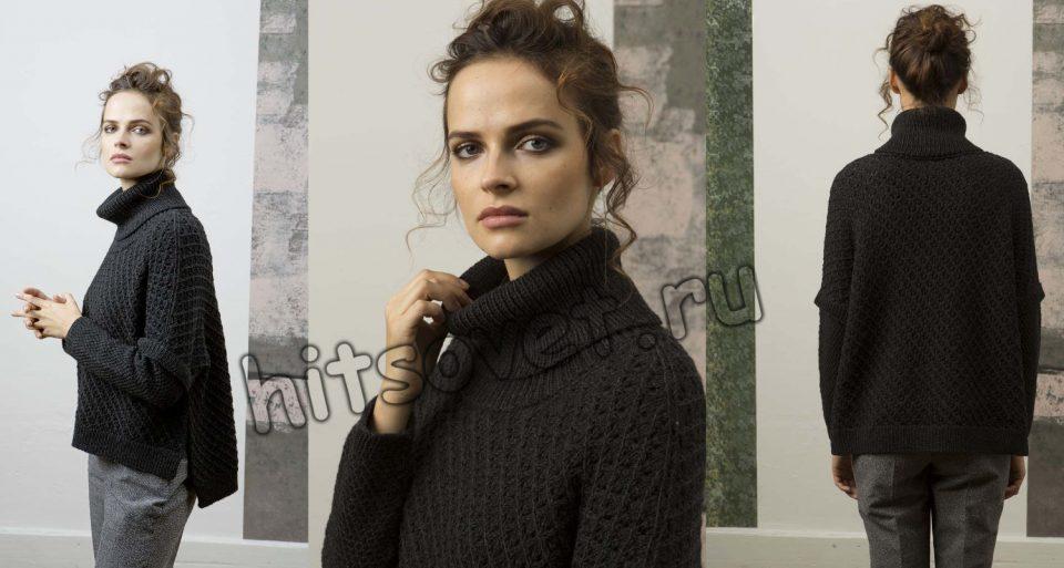 Модный свитер спицами женский, фото 2.