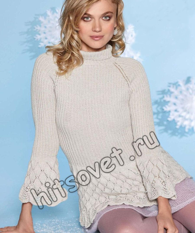 Пуловер с баской, фото.