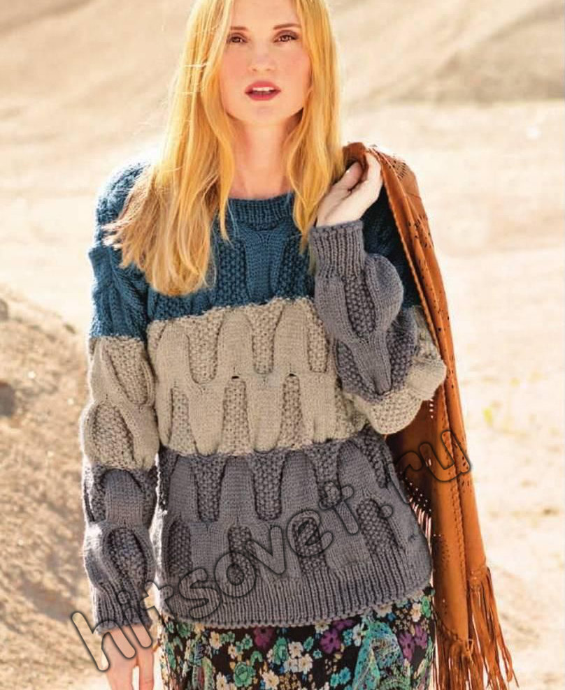 Пуловер с плетеным узором, фото.
