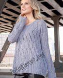 Свободный пуловер с ажурным узором, фото.
