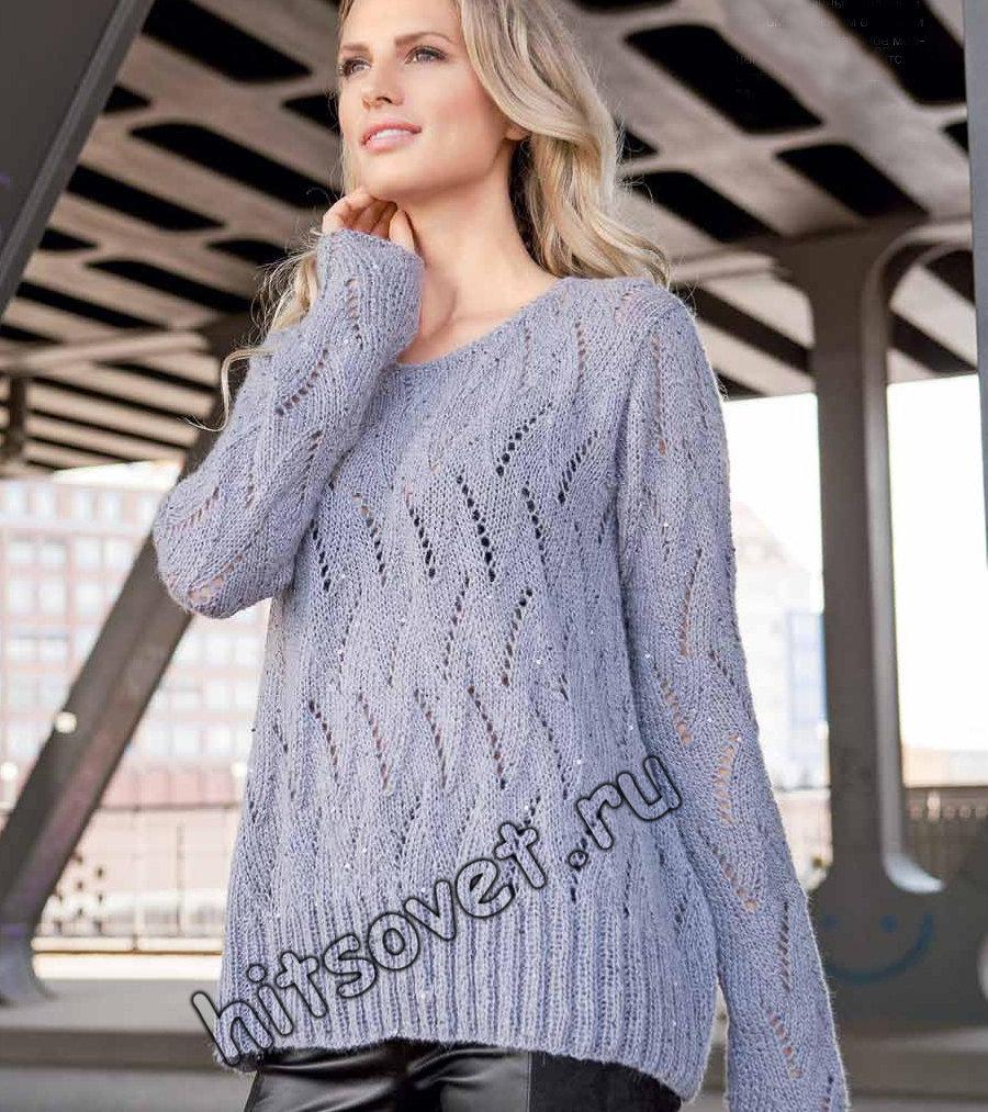 Свободный пуловер с ажурным узором