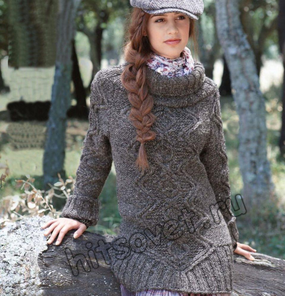 Удлиненный свитер с косами, фото.