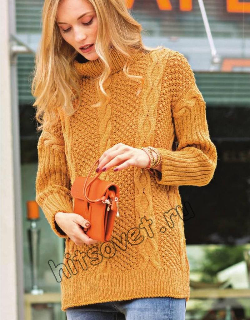 Вязание свитера с косами для женщин