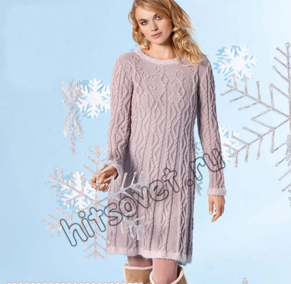 Вязаное платье на новый год, фото.