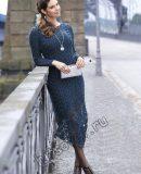 Вязаное платье с кружевом внизу. фото.