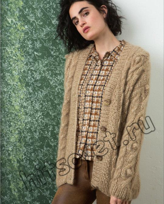 Жакет с косами спицами женский, фото.