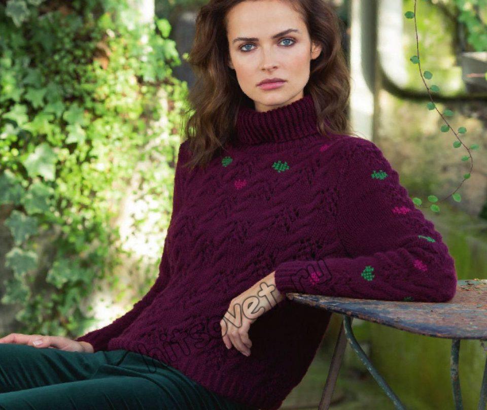 Женский свитер с косами спицами