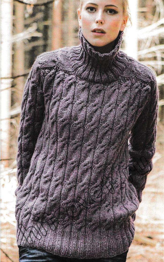 Красивый женский свитер спицами, фото.