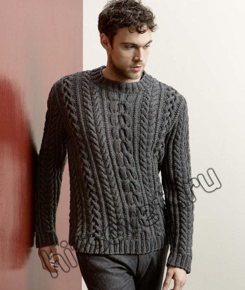 Мужской пуловер с косами спицами