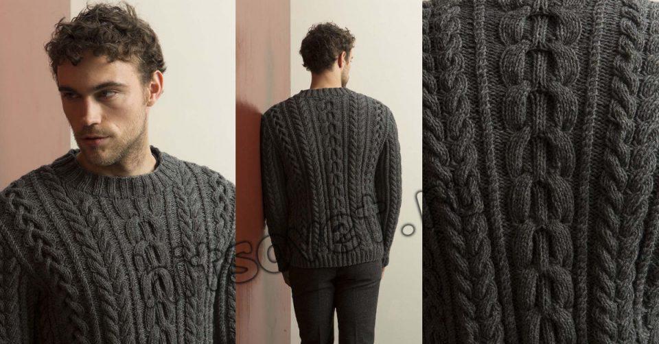 Мужской пуловер с косами спицами, фото 2.