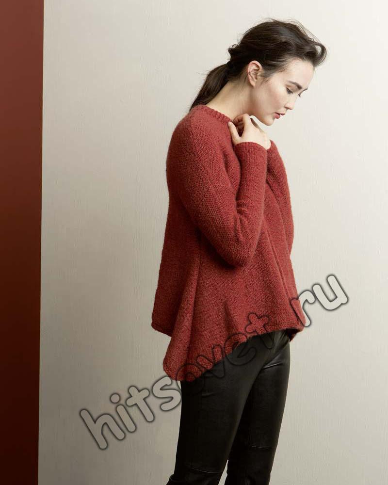 Пуловер с удлиненными боками