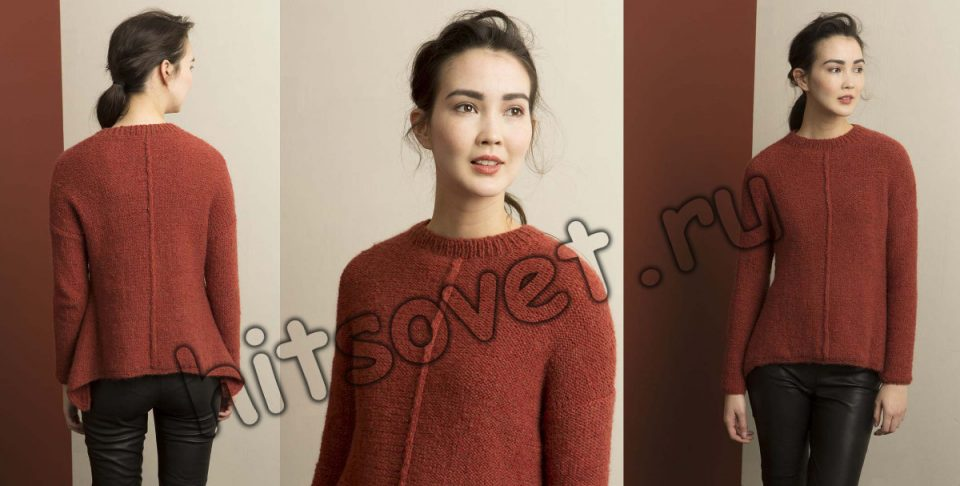 Пуловер с удлиненными боками, фото 2.