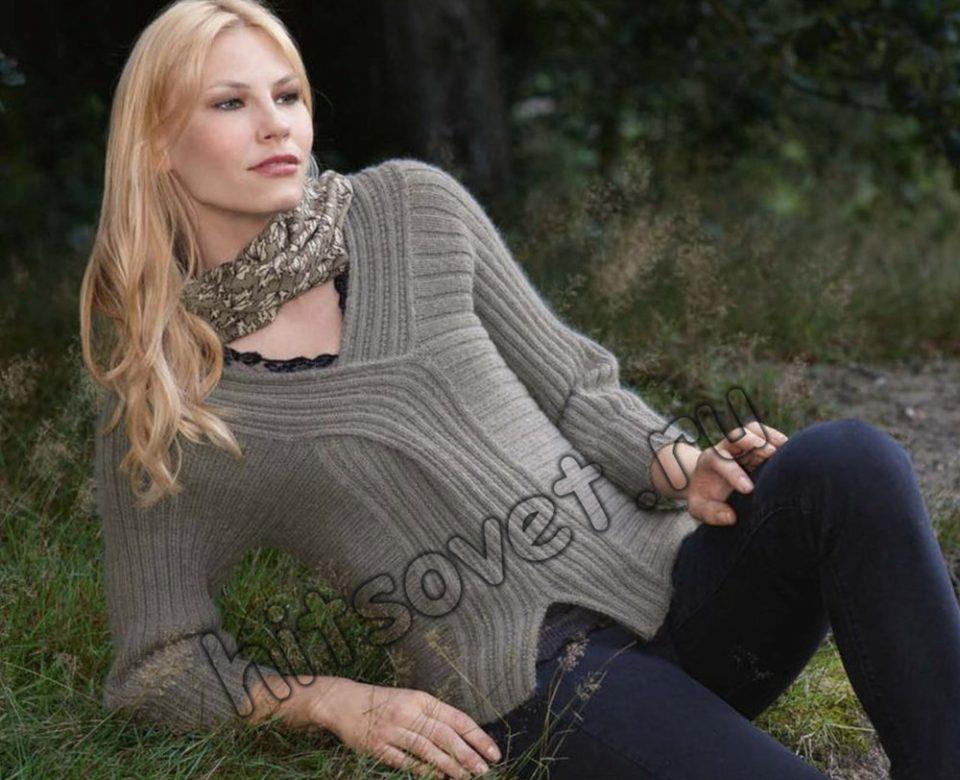 Пуловер спицами резинкой, фото.