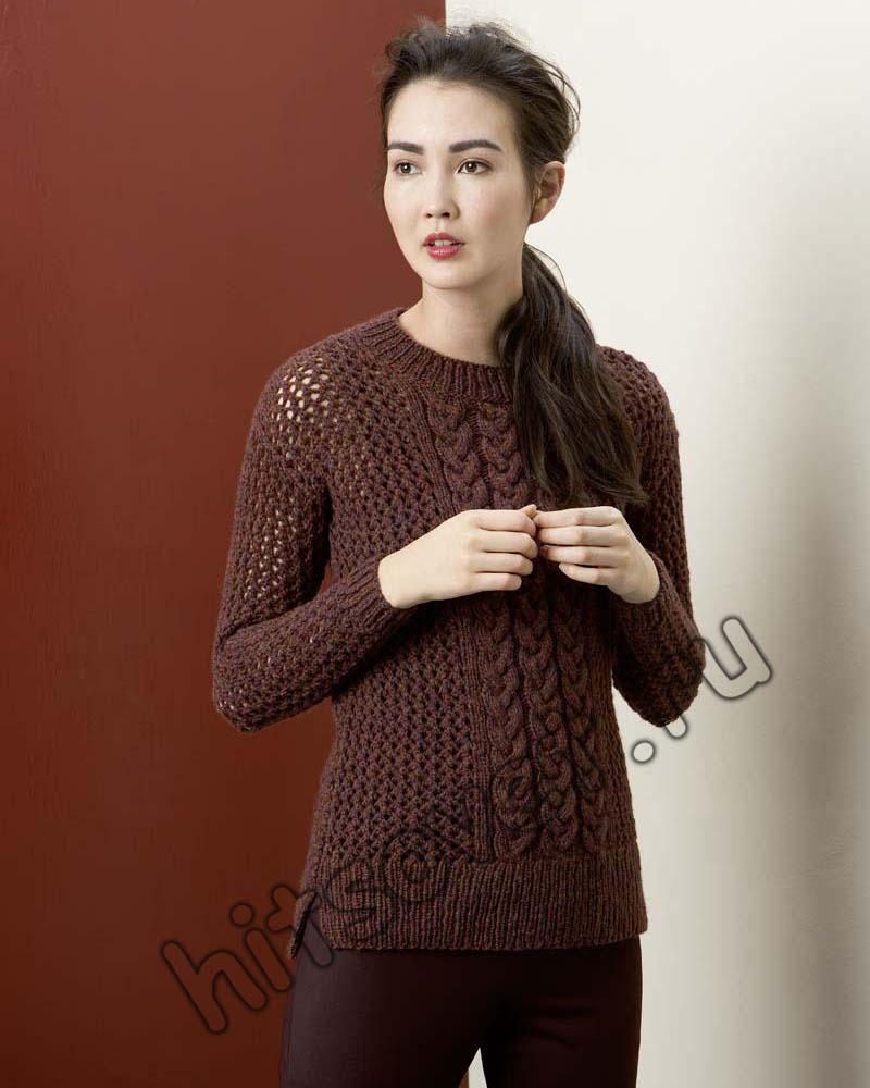 Сетчатый пуловер с косами, фото 1.