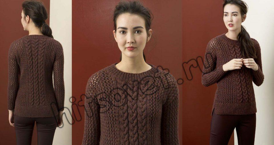 Сетчатый пуловер с косами, фото 2.