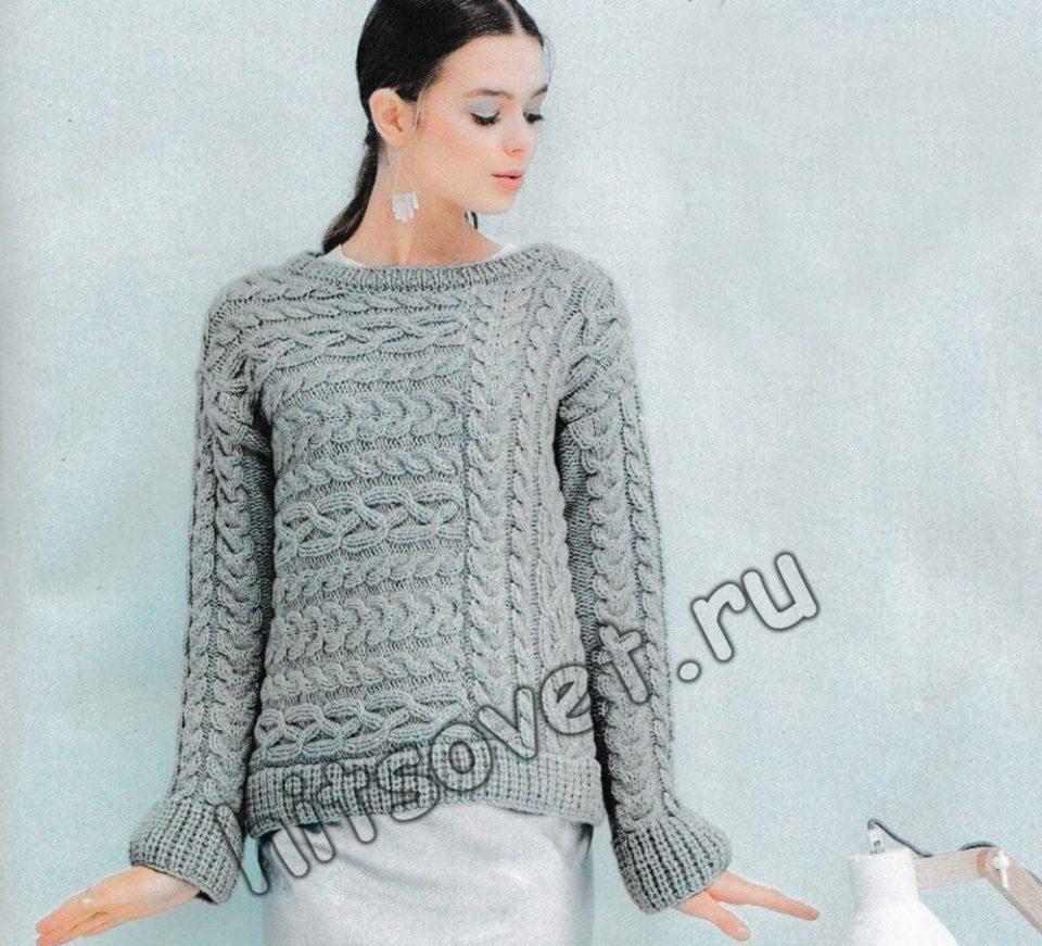 Стильный пуловер с косами, фото.