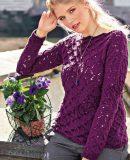Вязание пуловера с кружевным узором, фото.
