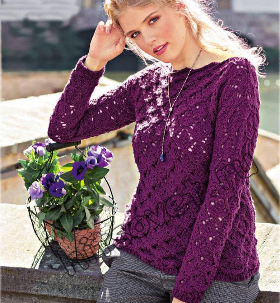 Вязание пуловера с кружевным узором