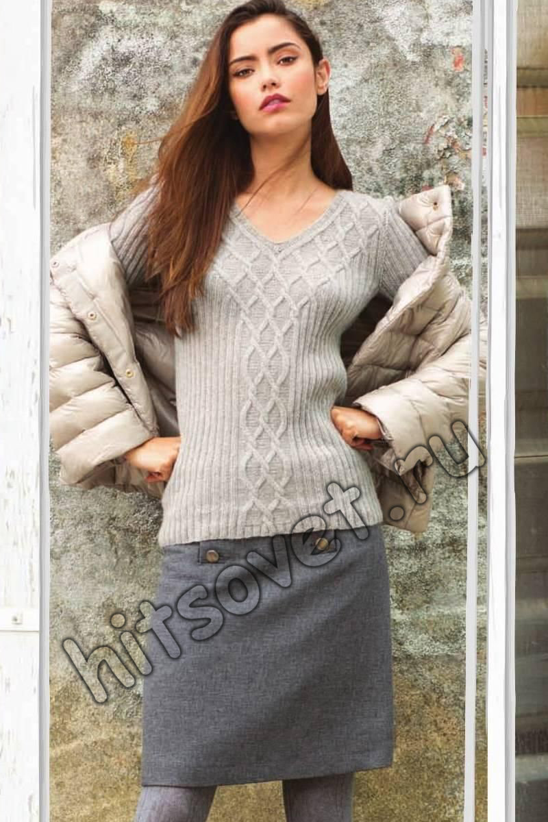 Вязание пуловера с v-образным вырезом схема, фото.
