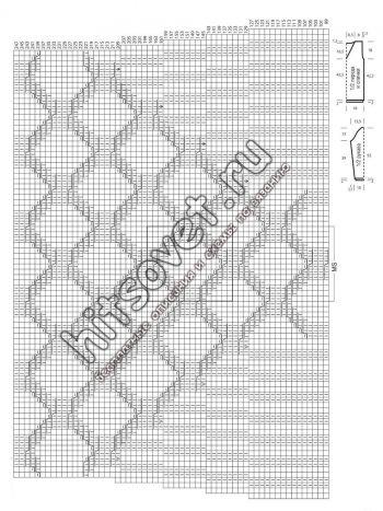 Вязание пуловера с v-образным вырезом, схема 1.