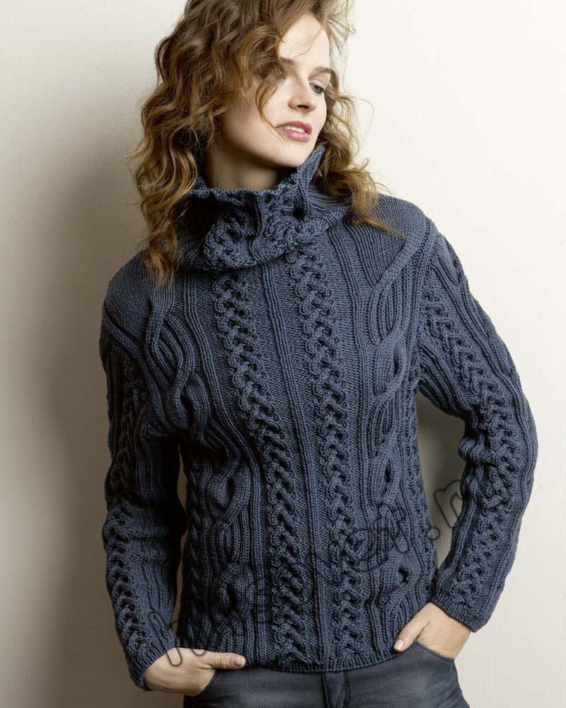 Женский свитер с косами схемы, фото 1.