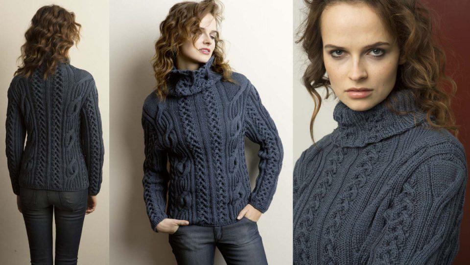 Женский свитер с косами схемы, фото 2.
