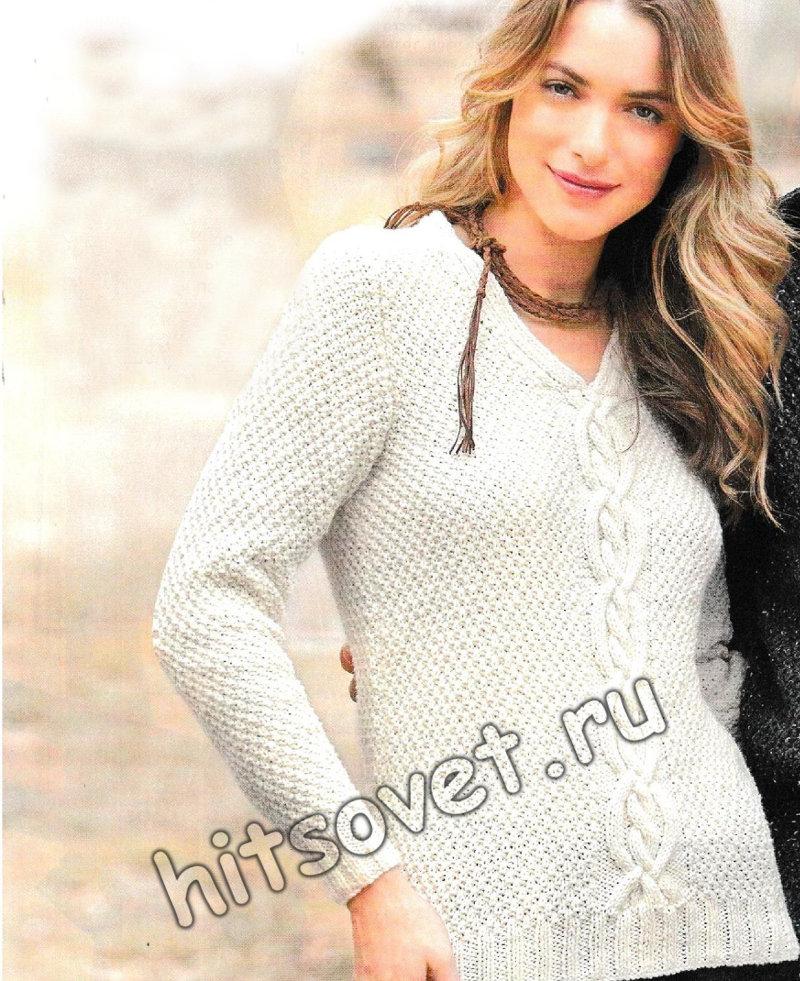 Пуловер с центральной косой, фото.