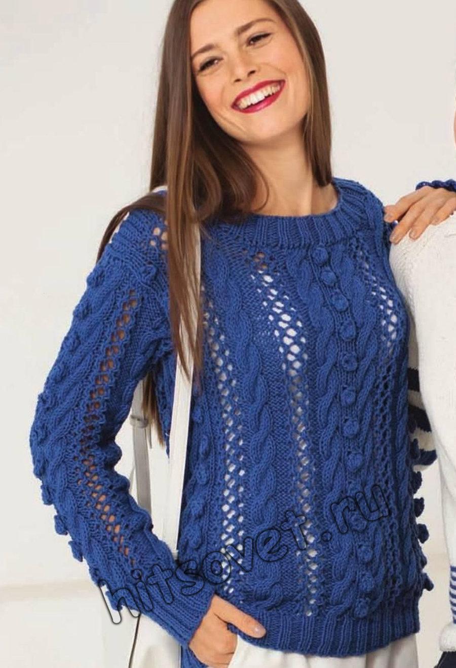 Пуловер с косами и шишечками, фото.