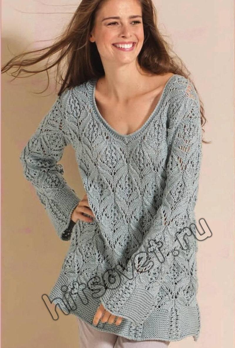 Пуловер с красивым узором, фото.