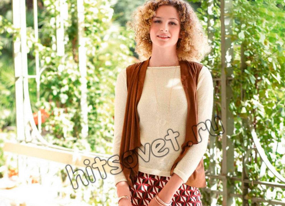 Пуловер с кружевной вставкой, фото 1.